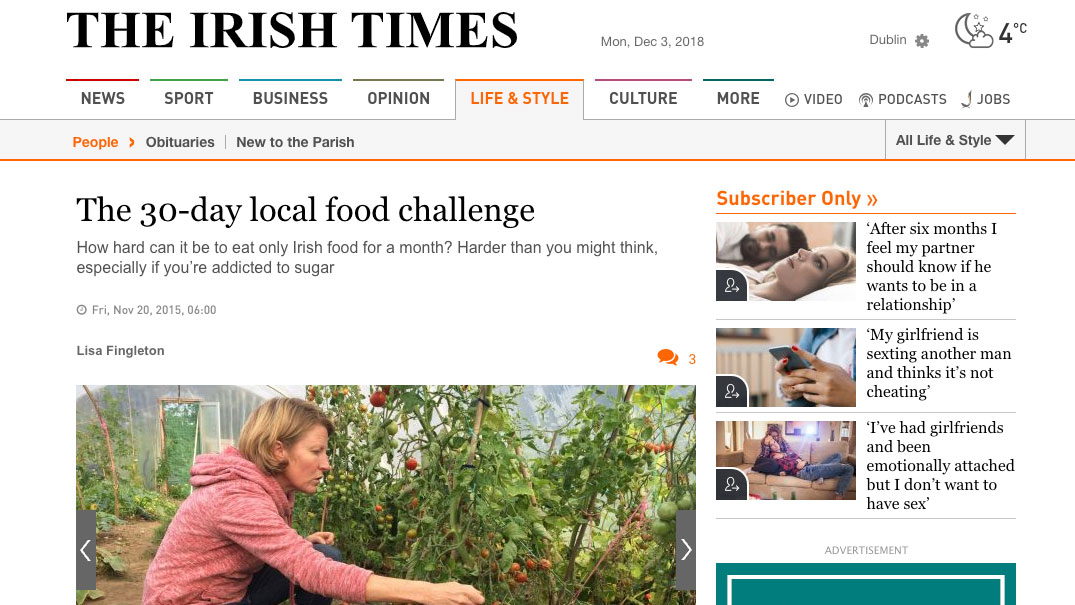 Irish Times: The 30 Day Local Food Challenge