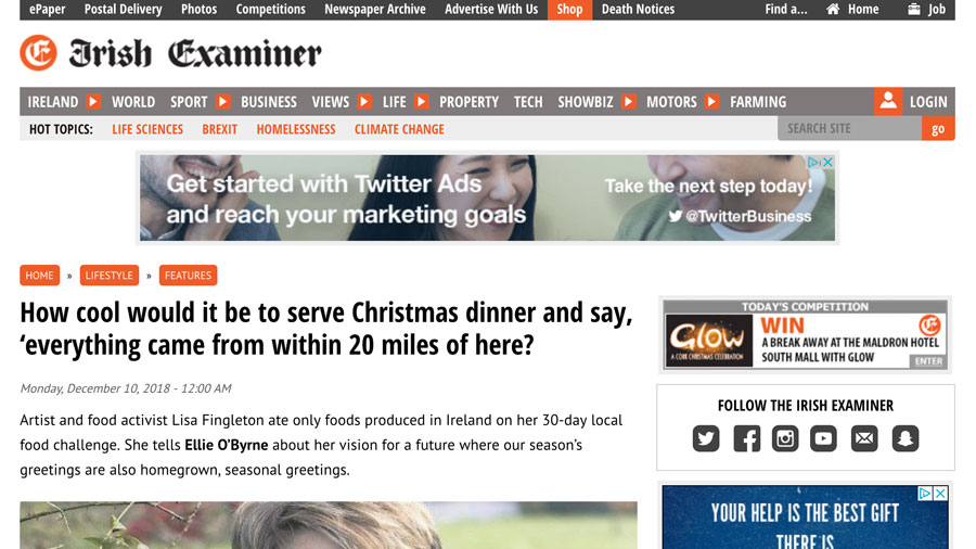 Examiner Article:  How cool would it be to serve Christmas dinner and say, 'everything came from within 20 miles of here?