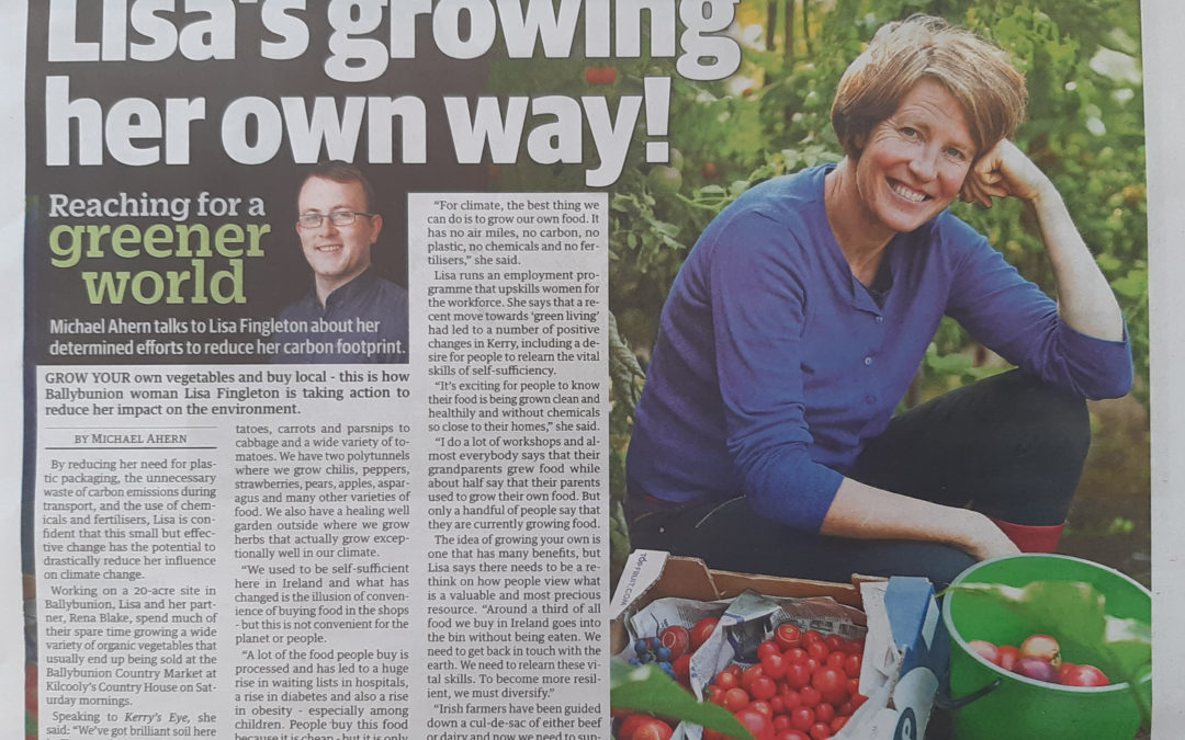 'Lisa's Growing Her Own Way: Reaching For a Greener World', by Mike Ahern, Kerry's Eye 26th March 2020