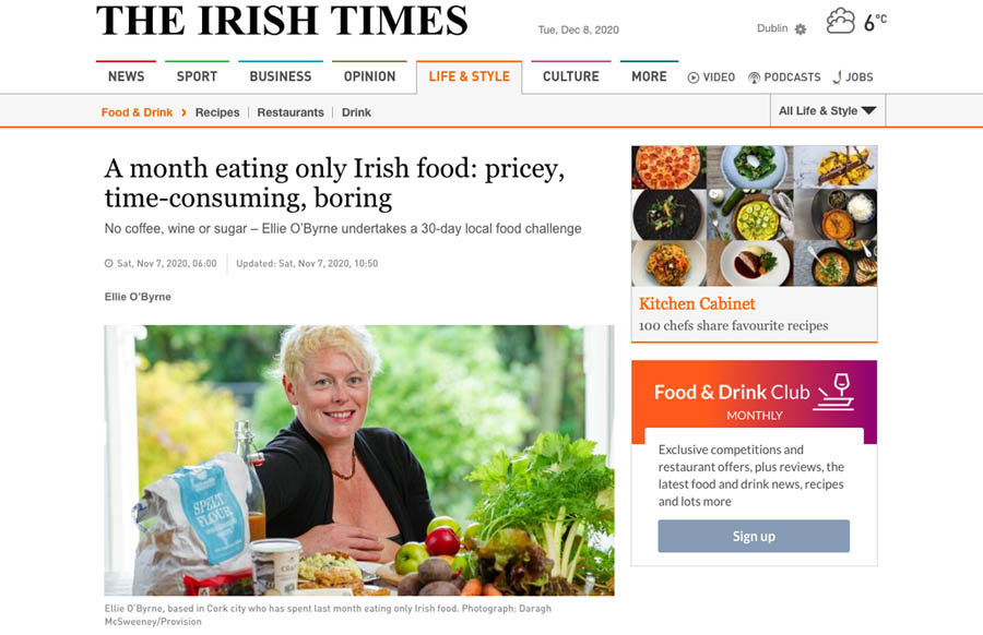 A month of Eating Irish Food, Ellie O Byrne, The Irish Times